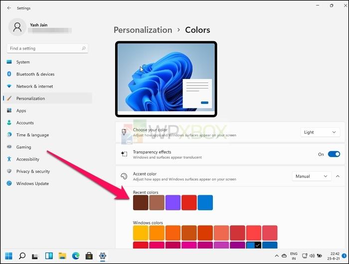 Recent Colors Accent
