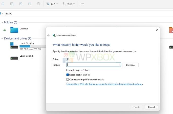 Select Drive Folder as Network Drive