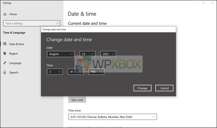 change time and date to fix vpn connecting issue
