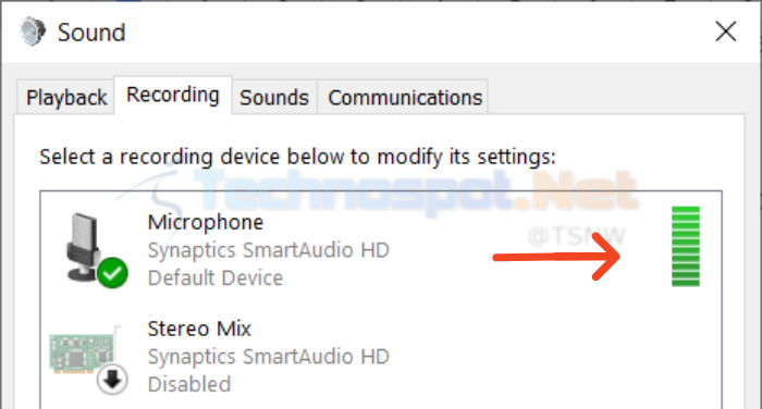 check microphone in Windows