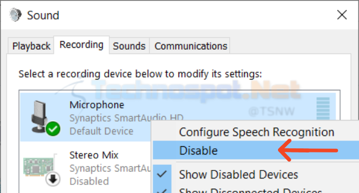 enable disable microphone in windows using sound settings