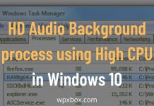 HD Audio Background process using High CPU in Windows