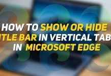 How to Show or hide title bar in vertical tabs in edge