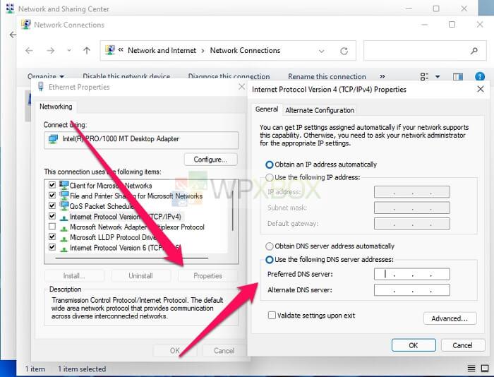 edit dns settings via control panel