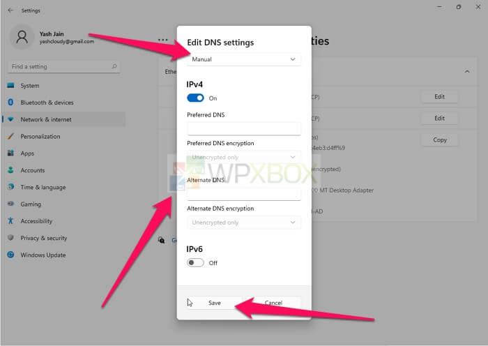 Edit DNS via Windows Settings