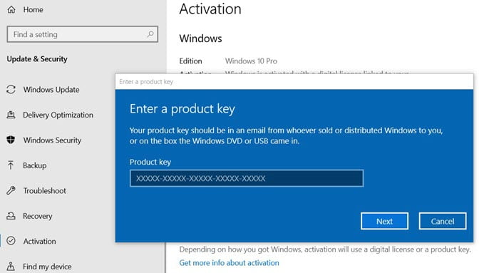 How to Activate Windows 10 via Settings