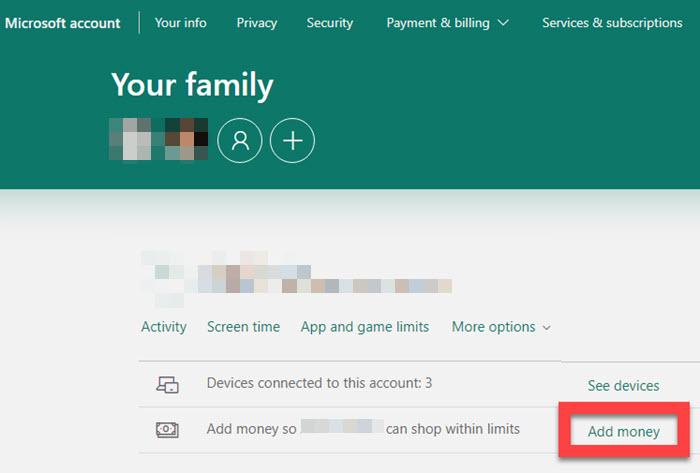 Add Money to Child Account