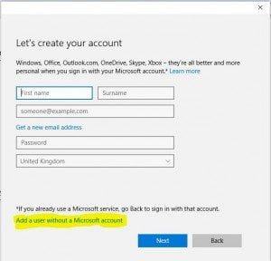 Add User Windows Microsoft Account