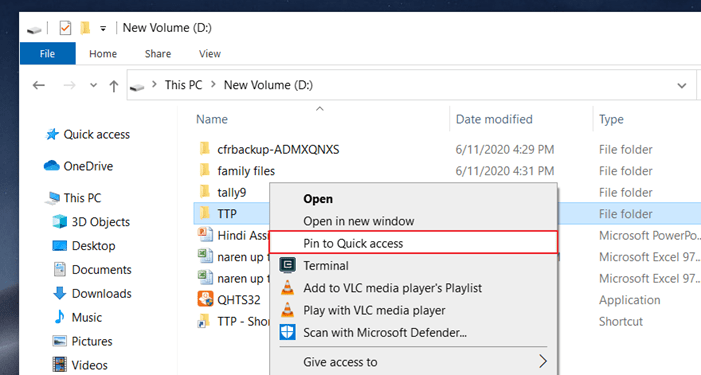 Add folder to quick access in Windows 10