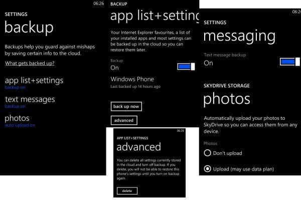 Backup List Windows Phone 8