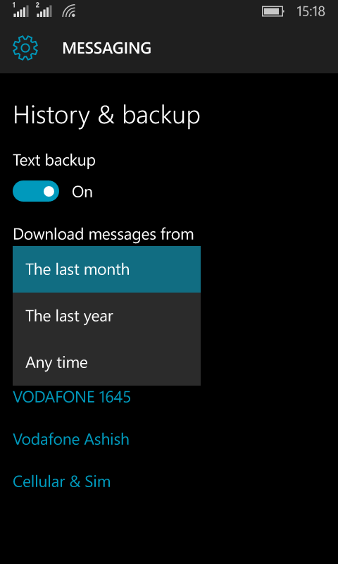 History and Backup Settings