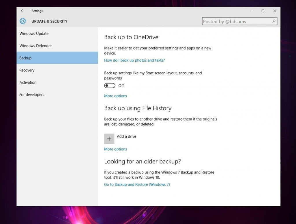 Backup to OneDrive in Windows 10