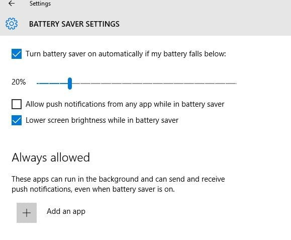 Battery Saver Settings in Windows 10