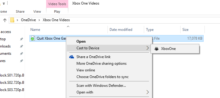 Cast to Device Xbox One from Windows 10 PC