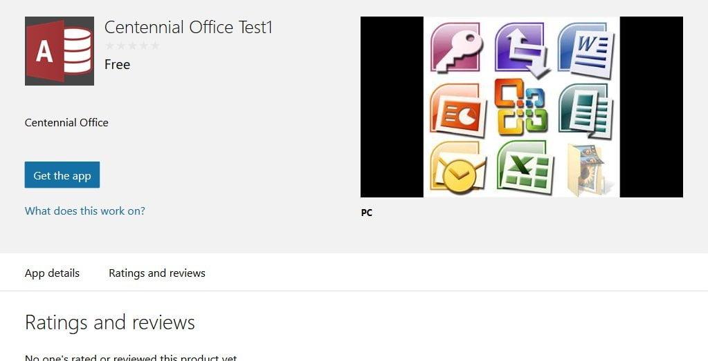 Centennial Office 2016 Windows Store