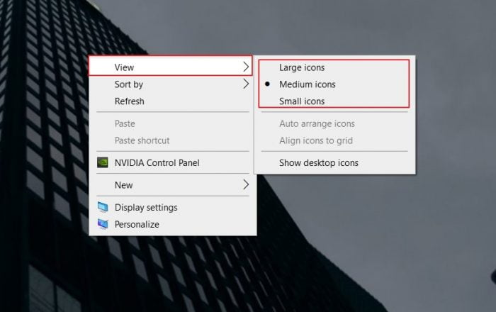 Change Desktop Icon Size using Context Menu
