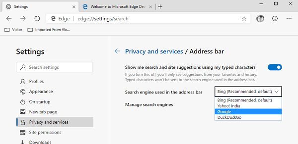 Change Edge Search Engine