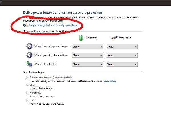 Change Power Settings in Windows 10