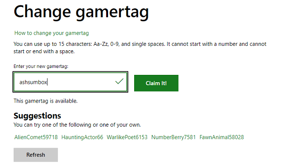Change Xbox Gamertag Online
