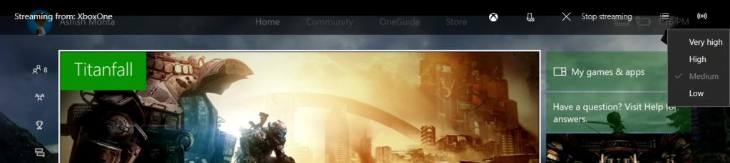 Change Xbox One Streaming Quality