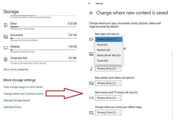 Change default app installation drive