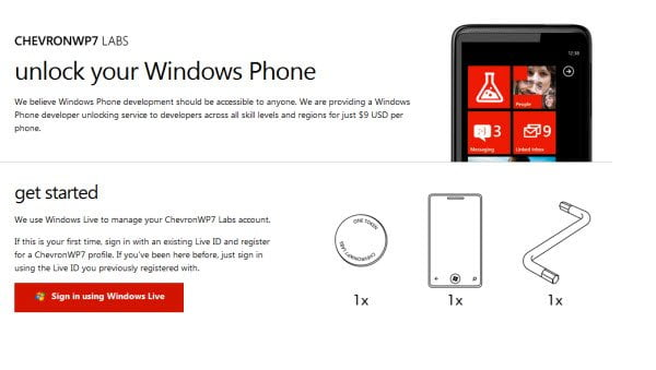 Chevron Unlock Windows Phone