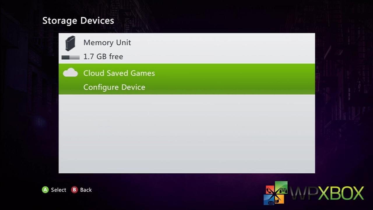 Cloud Storage Xbox 360
