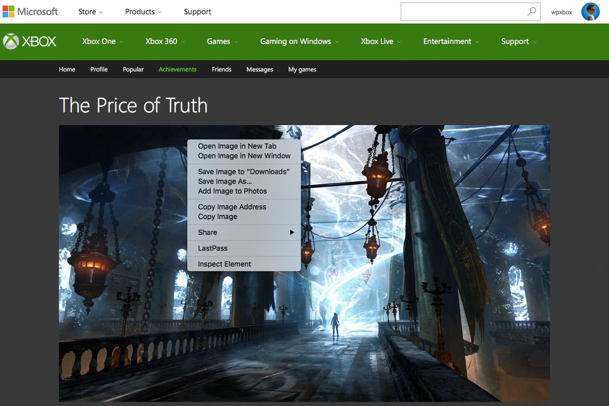Copy Image Address from Xbox One Achievemtns