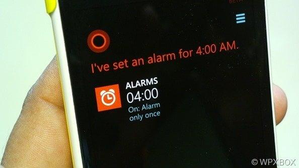 Cortana Alarm Set
