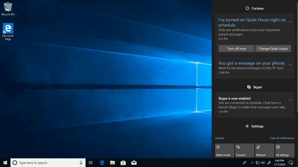 notification windows 10 focus assist