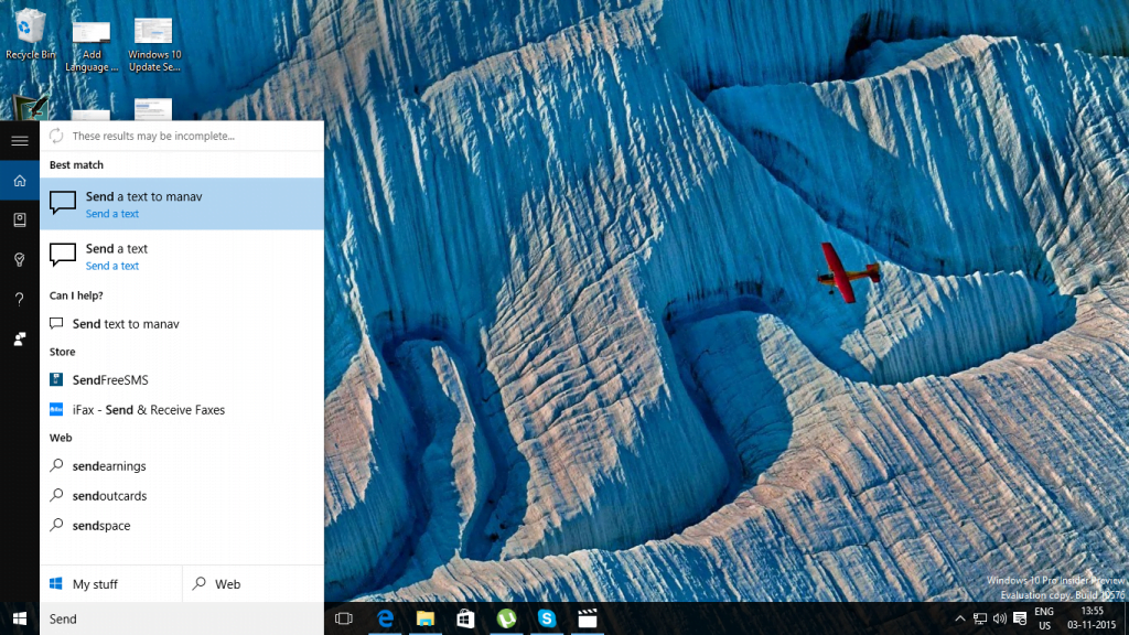 Cortana Send Text from PC 1