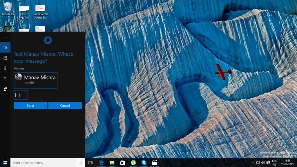 Cortana Send Text from PC 3