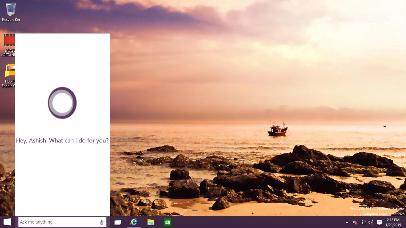 Enable Cortana in Windows 10