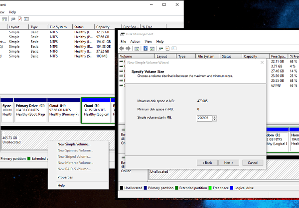 Create New Partition in Windows 10