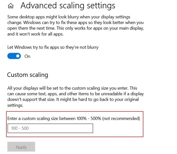 Advanced Scaling / Scale and Layout Display Settings