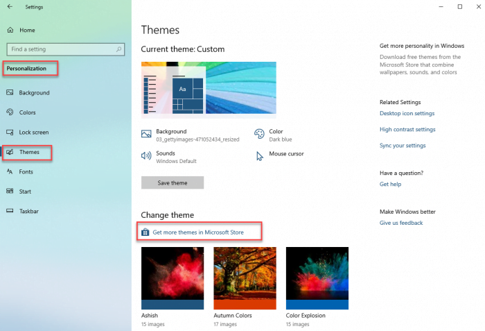 Customize Themes in Windows 10