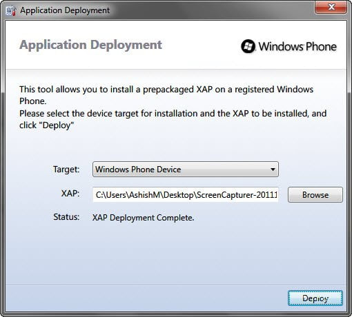 Deplying Third Part Xap Files using Chevron unlocked Phone