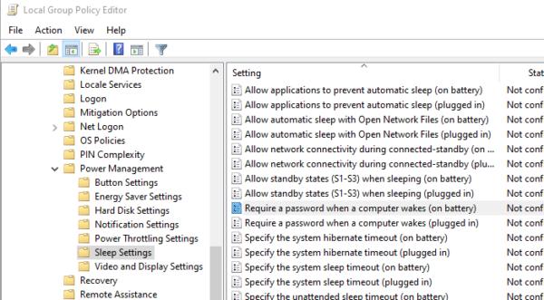 Disable Sleep Password in Windows 10