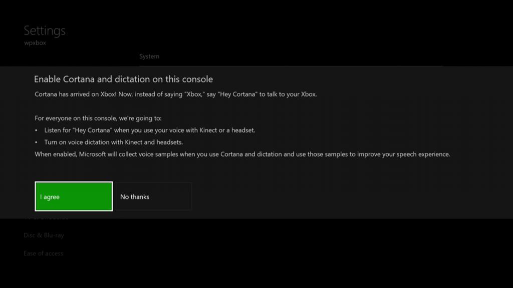 Enable Cortana on Xbox One