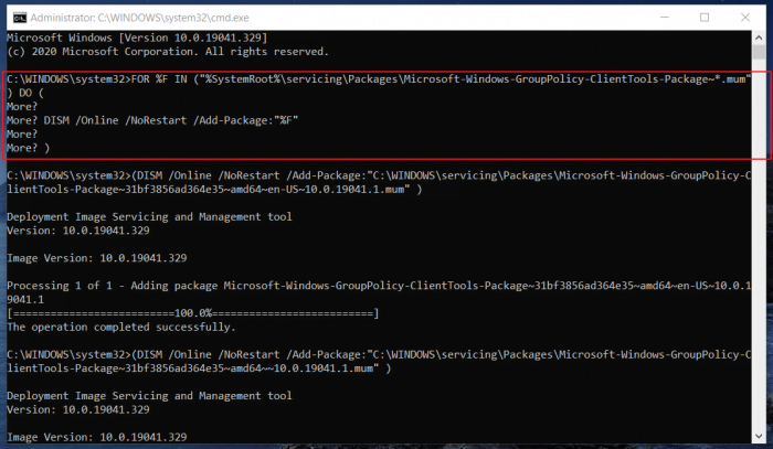Enable Group Policy Editor in Windows 11/10 Home Command Prompt