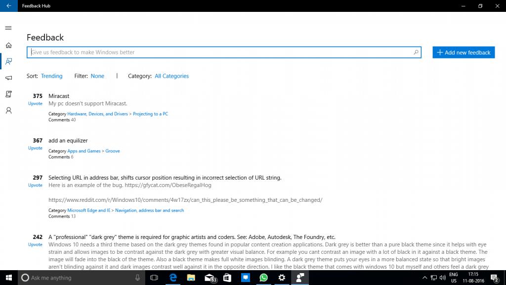 Feedback Hum Windows 10 Insider