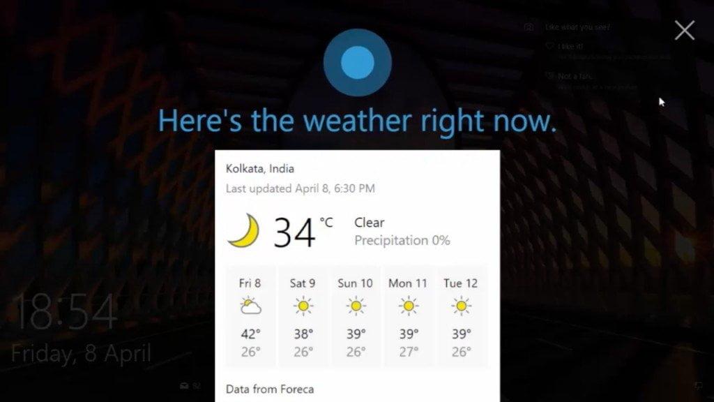 Hey Cortana Lock Screen