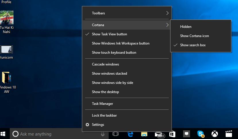 Hide Cortana in Windows 10