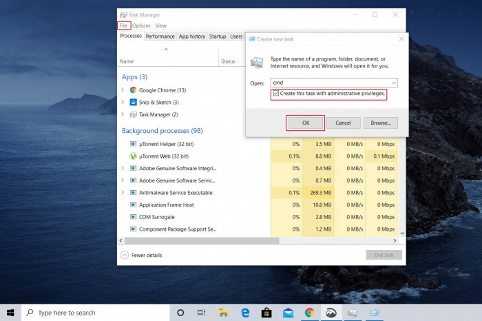 How to Open Command Prompt from Task Manager