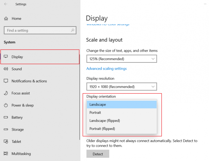 How to Rotate Screen in Windows 10 using Settings