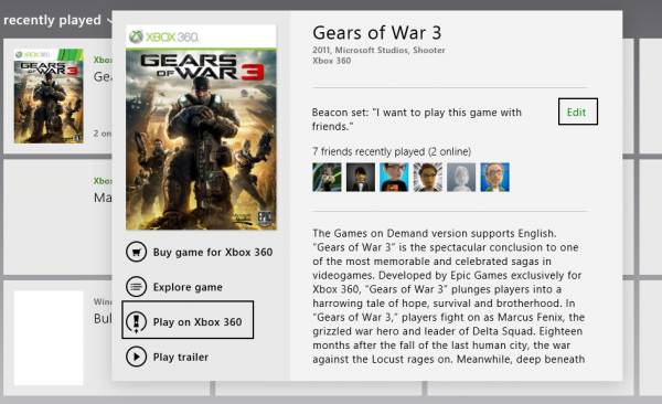 Launch Xbox games from Windows 8 Smartglass