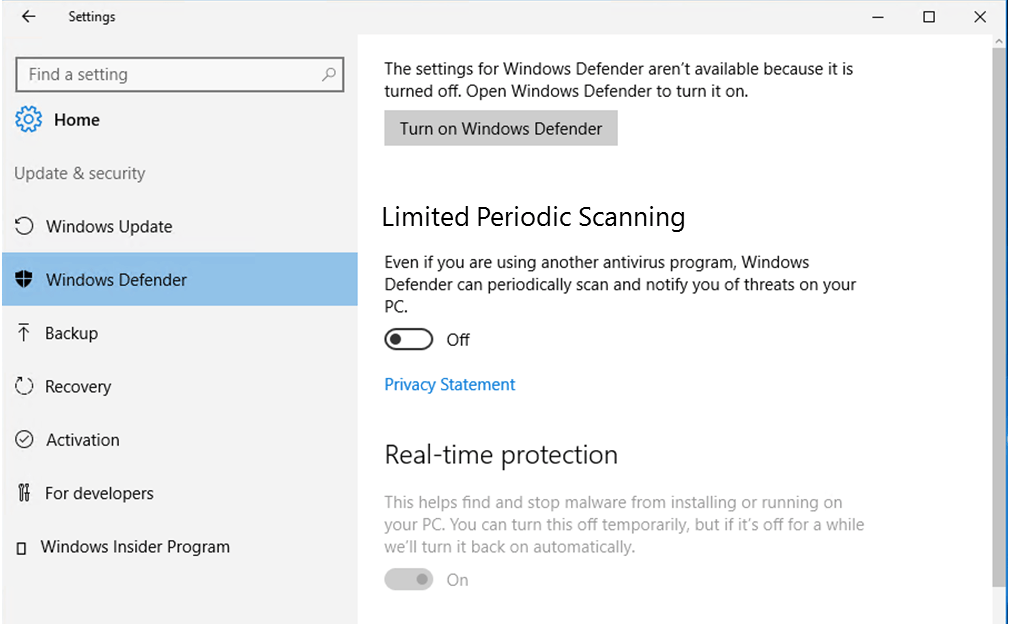 Limited Periodic Scanning Window 10 Defender
