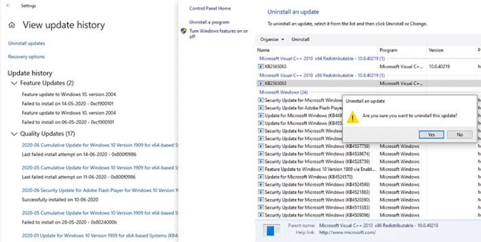 Uninstall Reinstall Windows Updates
