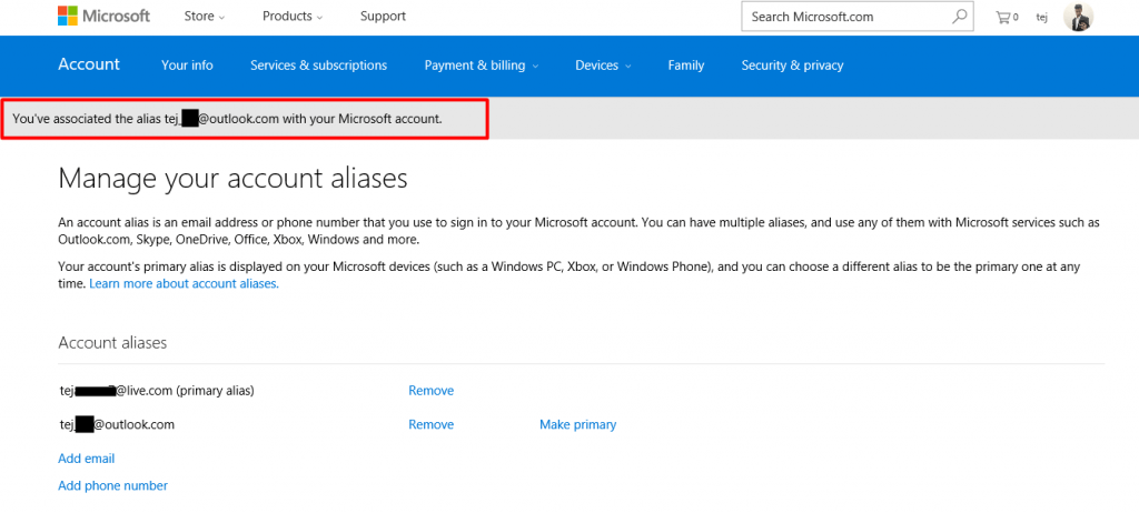 Manage email accounts of Microsoft