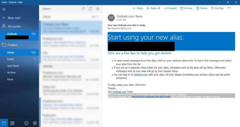 change Windows 10 Email